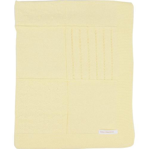 Manta de tricot trabalhada - amarela
