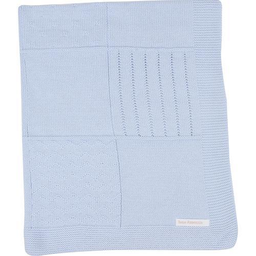 Manta de tricot trabalhada - azul claro