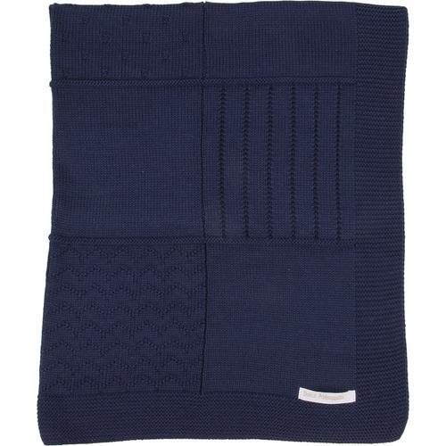 Manta de tricot trabalhada - azul marinho