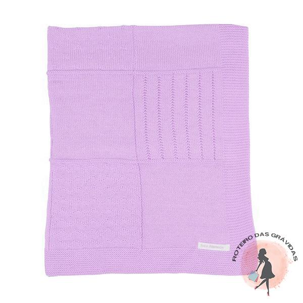 Manta de tricot trabalhada - lilás