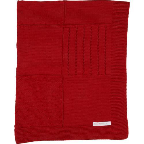 Manta de tricot trabalhada - vermelha