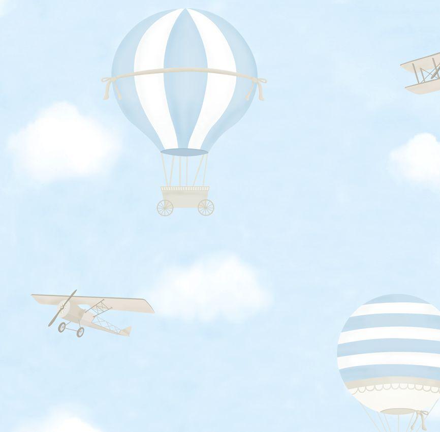 Papel de Parede - Balão e Avião Azul