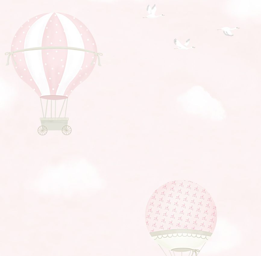 Papel de Parede - Balão e Avião Rosa