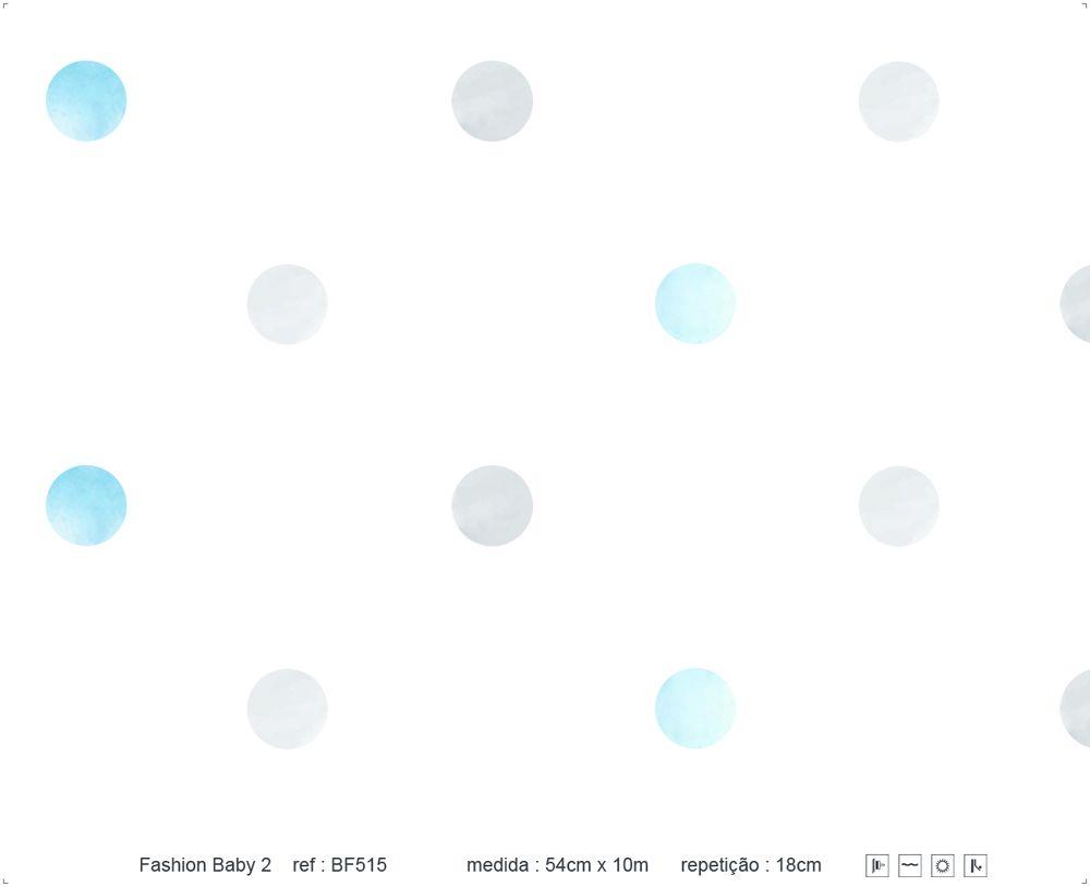 Papel de Parede - Bolinha Aquarela Azul e Cinza