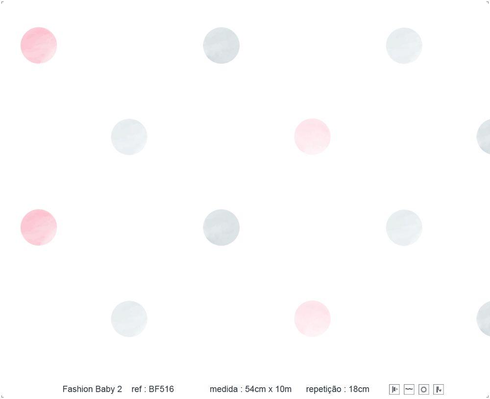 Papel de Parede - Bolinha Aquarela Rosa e Cinza