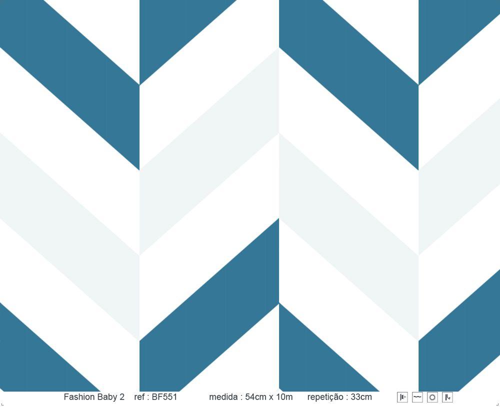 Papel de Parede - Zig Zag Cinza e Azul Escuro