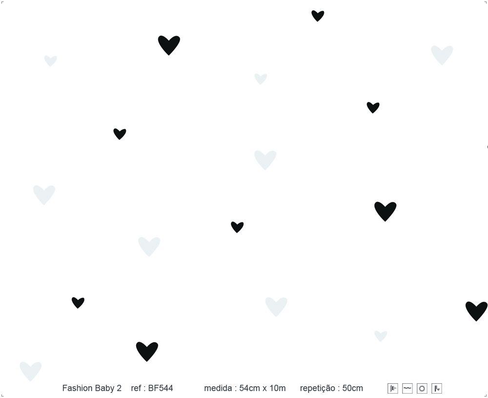Papel de Parede - Coração Preto e Cinza