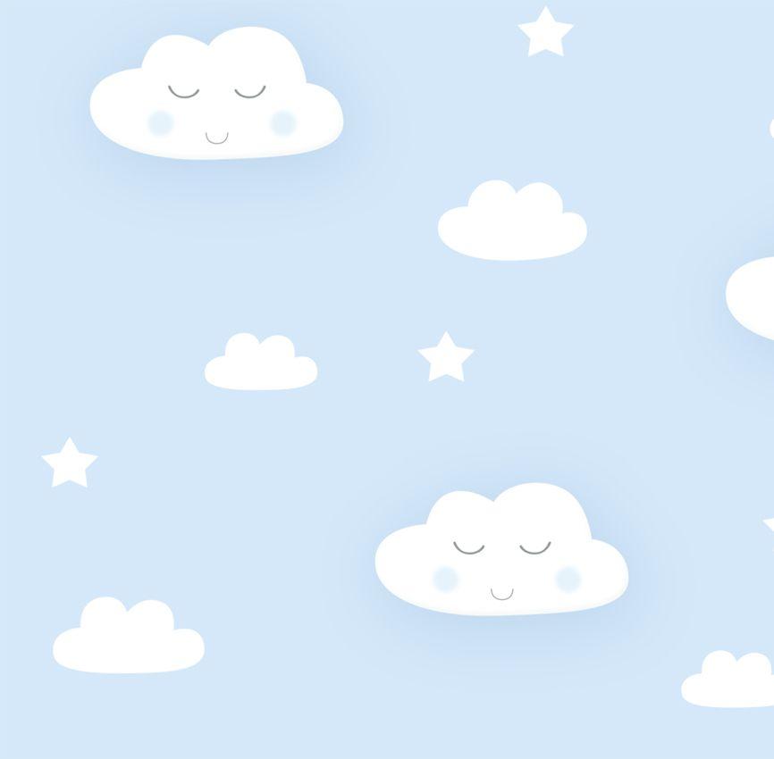 Papel de Parede - Nuvem Sorriso Azul