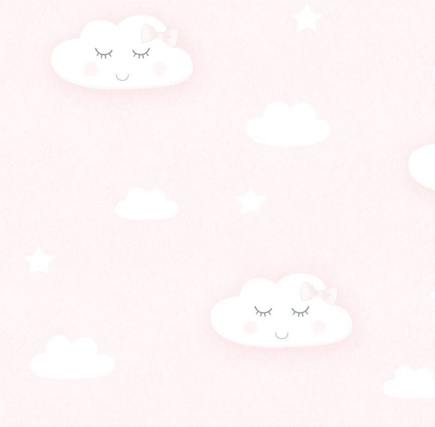 Papel de Parede - Nuvem Sorriso Rosa