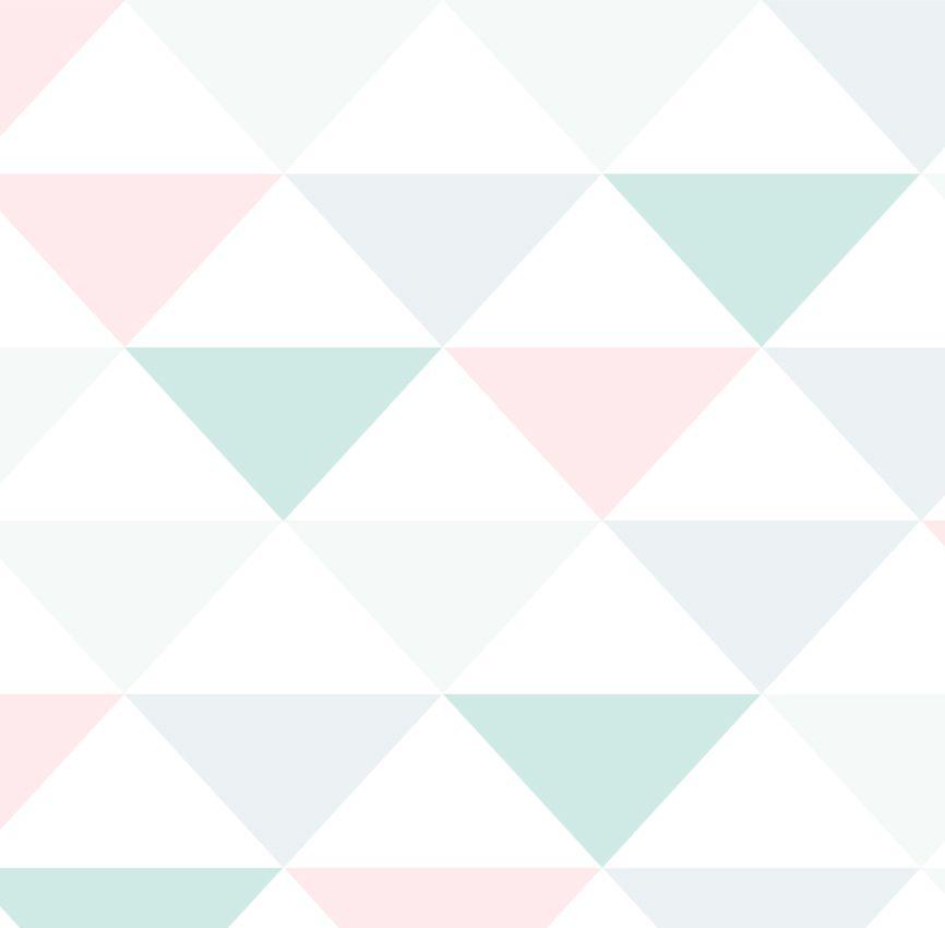 Papel de Parede - Triângulo Inverso Verde e Rosa