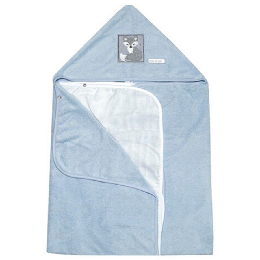 Toalha de Banho Grande - Com Fralda Solta - Azul Raposa