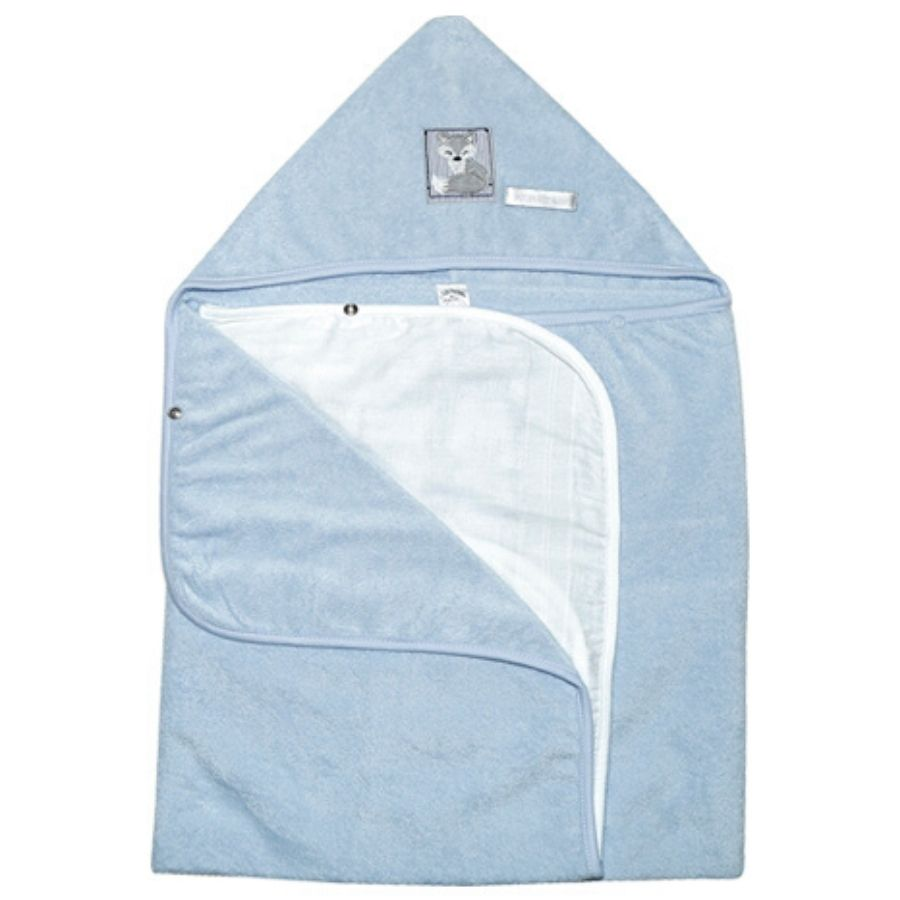 Toalha de Banho Pequena - Com Fralda Solta - Azul Raposa