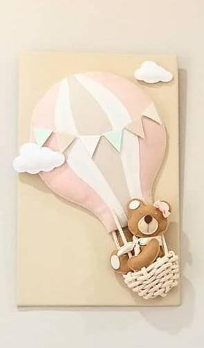 Trio de Quadros Urso Balão - Personalizado