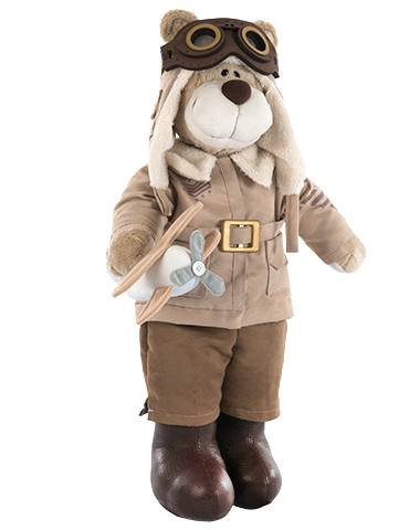 Urso de Pelúcia Bochecha Aviador Antigo 3 - Bege