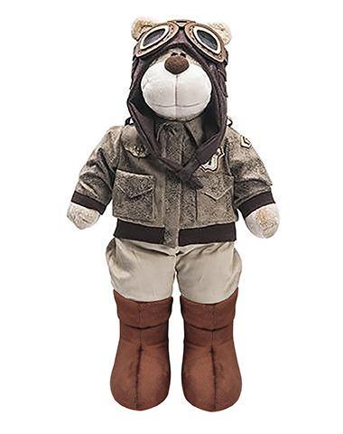 Urso de Pelúcia Bochecha Aviador Antigo 2 - Marrom