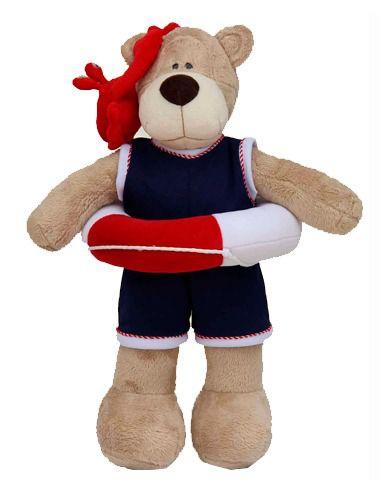 Urso de Pelúcia Bochecha Náutico com Boia e Siri - Azul e Vermelho