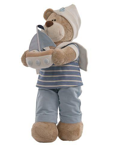 Urso de Pelúcia Bochecha Naútico - Marinheiro com Barco