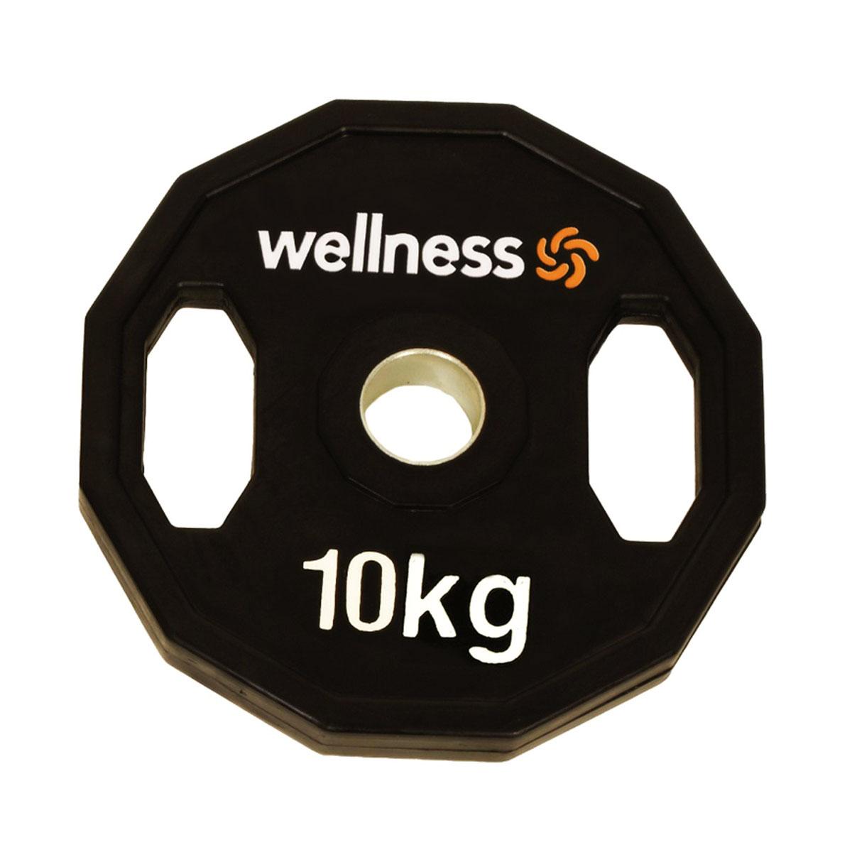 Anilha Emborrachada Furação Standard 12 Faces com Pegada 10kg Wellness