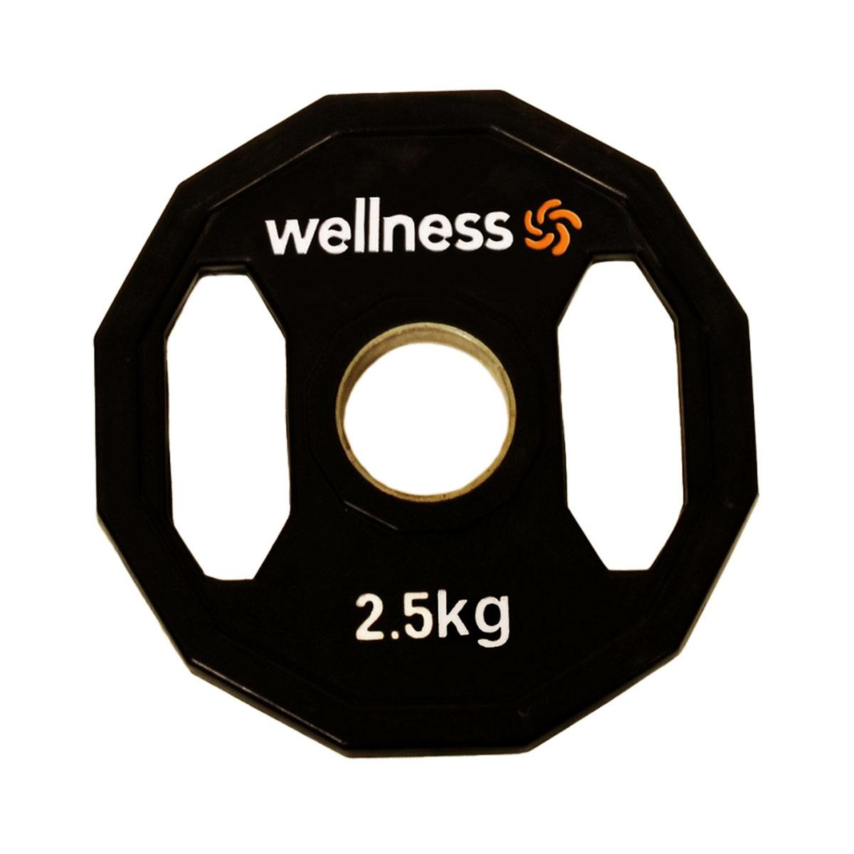 Anilha Emborrachada Furação Standard 12 Faces com Pegada 2,50kg Wellness