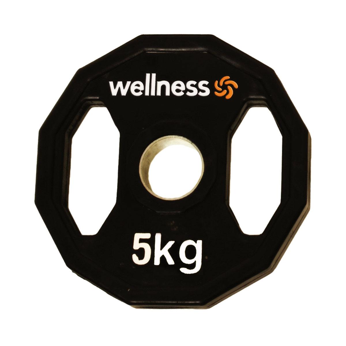 Anilha Emborrachada Furação Standard 12 Faces 5kg Wellness