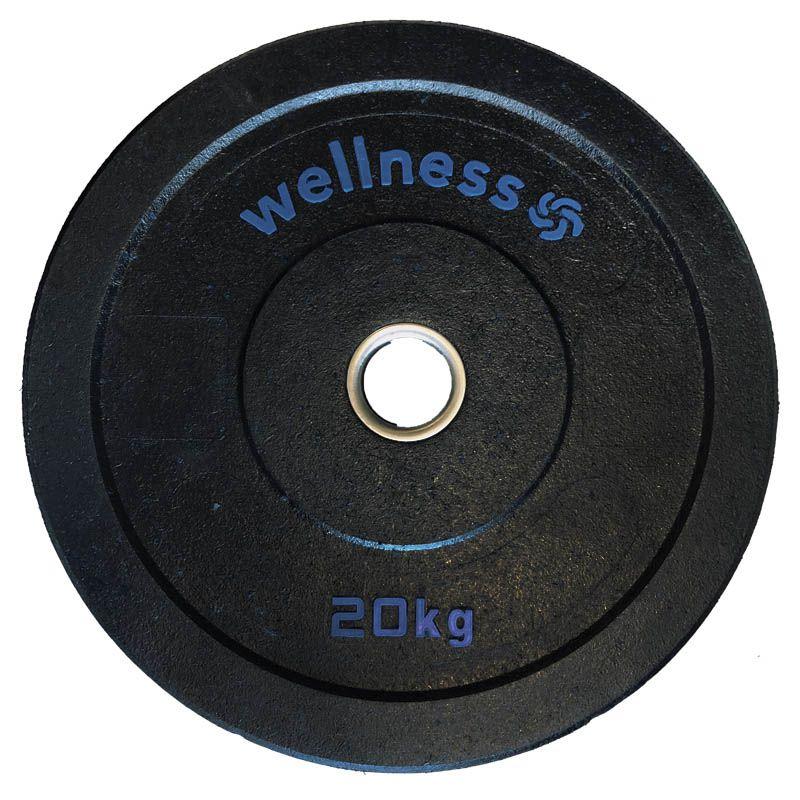 Anilha Olímpica Borracha New Bumper Plate 20kg azul Wellness