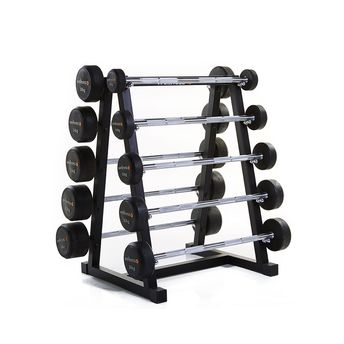 Kit 10 Barras Montadas Emborrachados (10 a 46 kg) Total 280 kg - Wellness