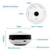 Câmera IP 1.3 MP 960p Wifi Sem Fio Panorâmica 360º