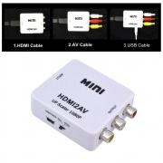 Mini Adaptador Conversor HDMI para Video RCA 1080p HDMI2AV