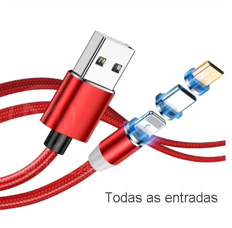 Cabo Universal Magnético Carregador 3 em 1 USB Android iOS Tipo C