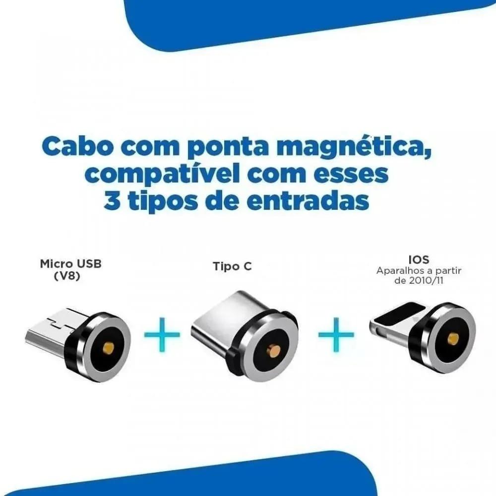 Cabo Universal Magnético Carregador 3 em 1 USB iOS Tipo C