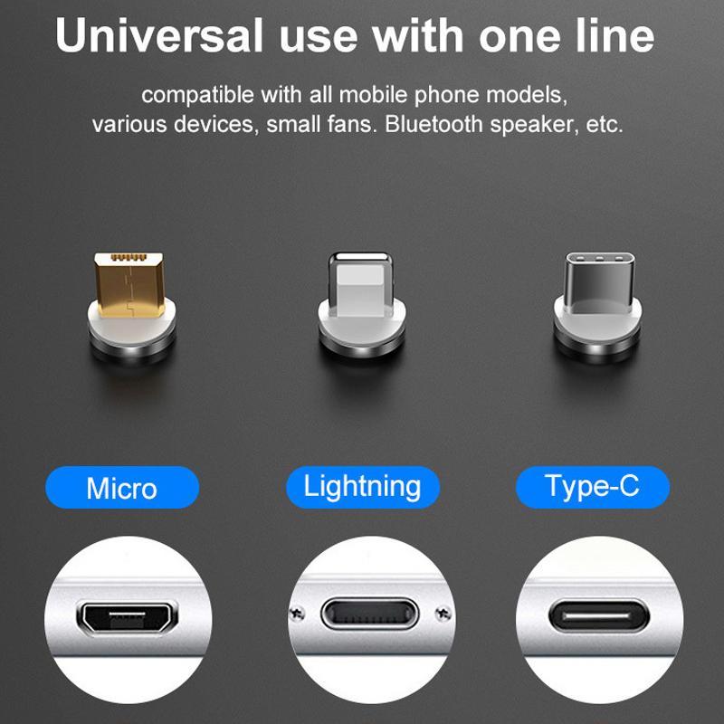 Cabo Universal Magnético Carregador 3x1 Android iOS Tipo C