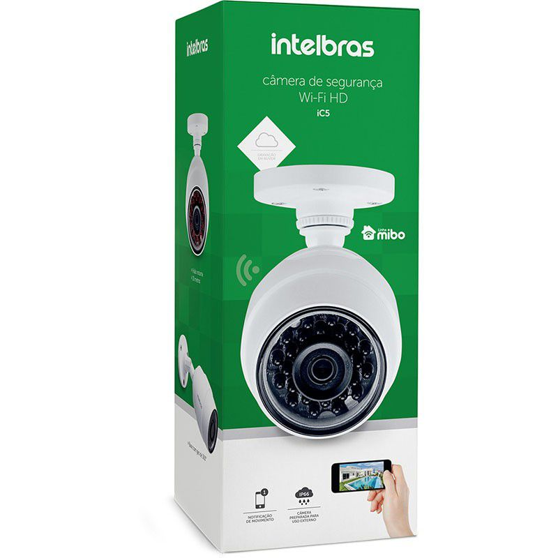 Câmera de Segurança HD Sem Fio Intelbras Wifi Mibo iC5 IP66 - Audio e Micro SD