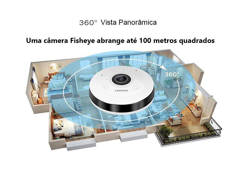 Câmera IP 1.3 MP 960p Wifi Sem Fio Panorâmica 360º com ONVIF