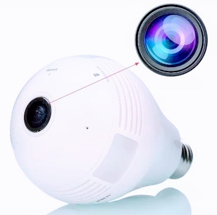 Câmera Ip Segurança Lâmpada 360º Panorâmica Espiã Wifi