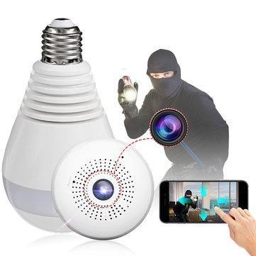 Câmera Lâmpada IP 360º Panorâmica Espiã Wifi HD