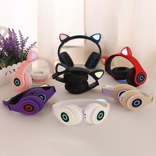 Fone De Ouvido Bluetooth Orelha De Gato LED Headphone B39