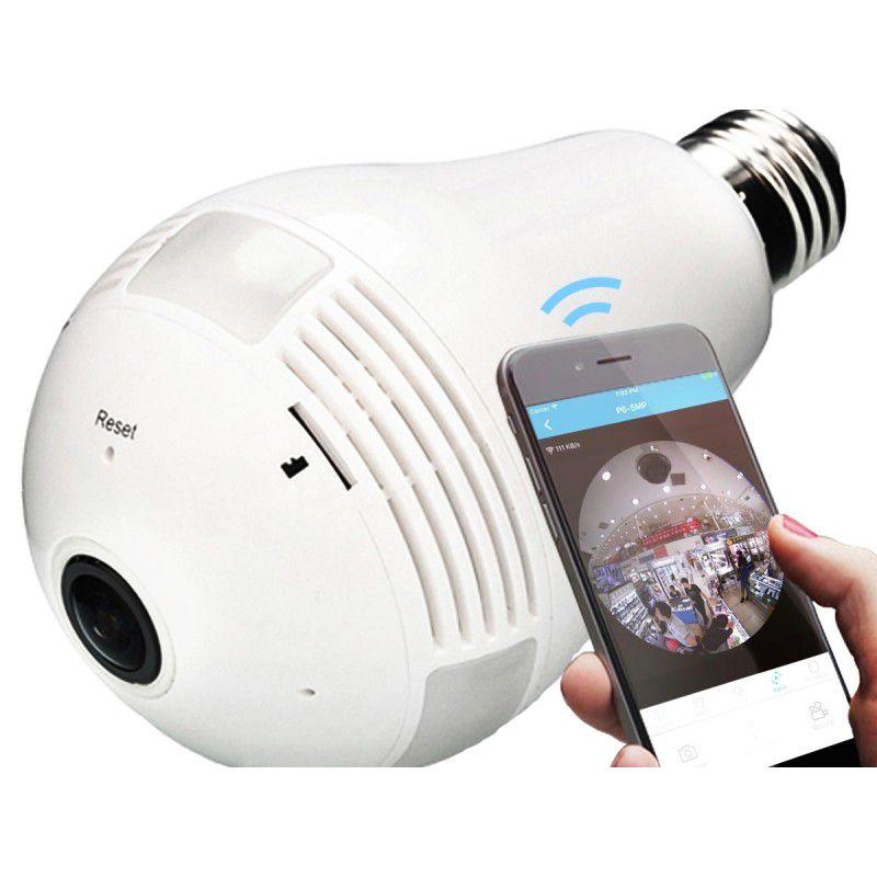 Icsee Câmera Ip Segurança Lâmpada 360º Panorâmica Espiã Wifi