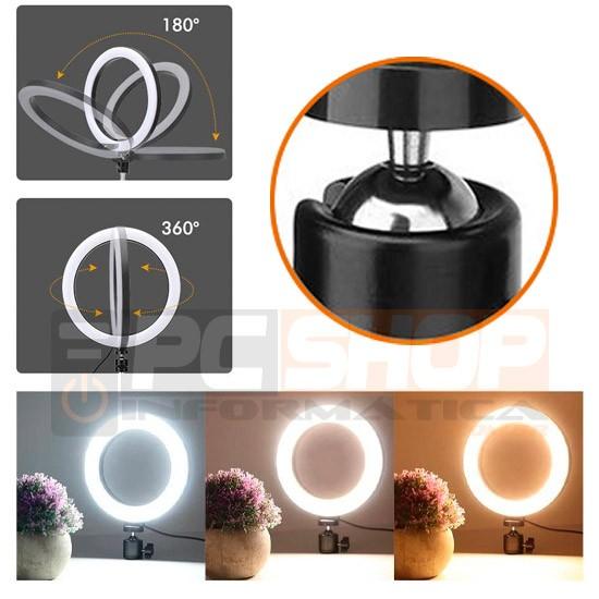 Iluminador LED Ring Light 6 polegadas Mini Tripé Profissinoal