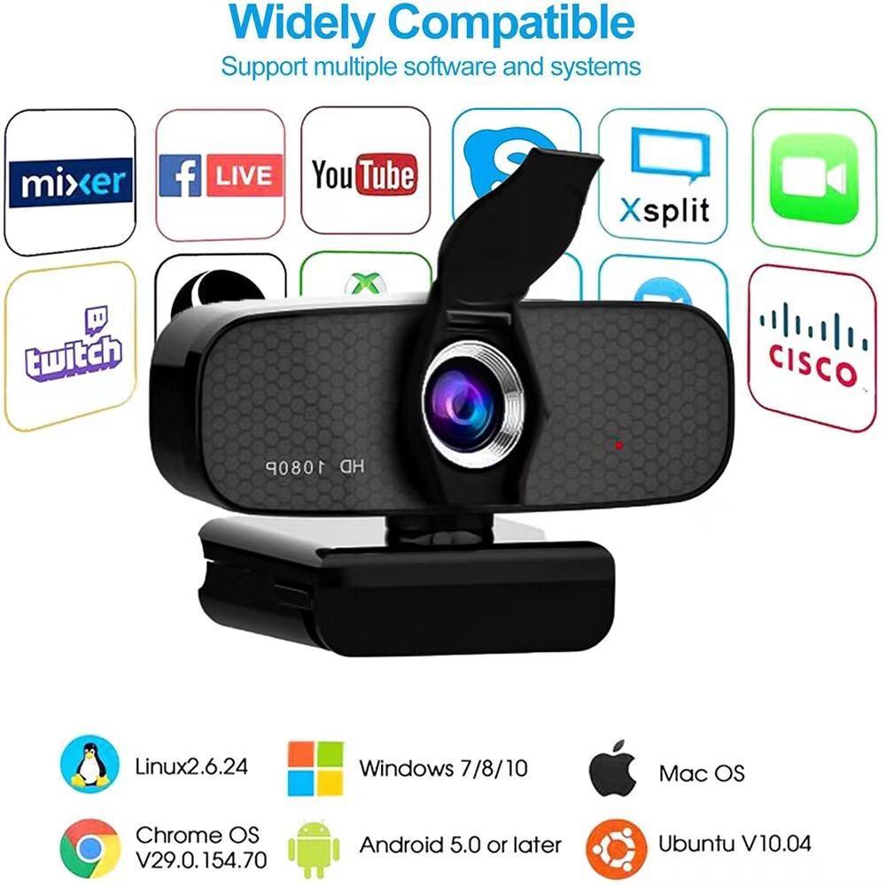 Webcam FULL HD 1080p USB com microfone embutido