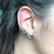 Brinco Ear Cuff Estrela Folheada em Ródio Branco