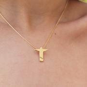 Gargantilha Pingente Cristo Redentor Folheado em Ouro 18K