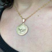 Gargantilha Pingente Espírito Santo Medalha Folheado em Ouro 18k