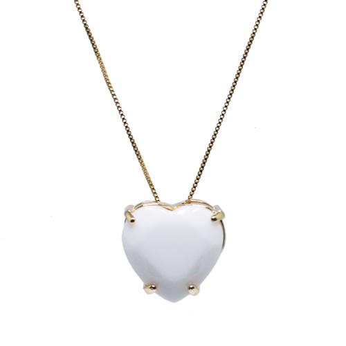 Colar Coração Grande Cristal Branco Ouro 18K