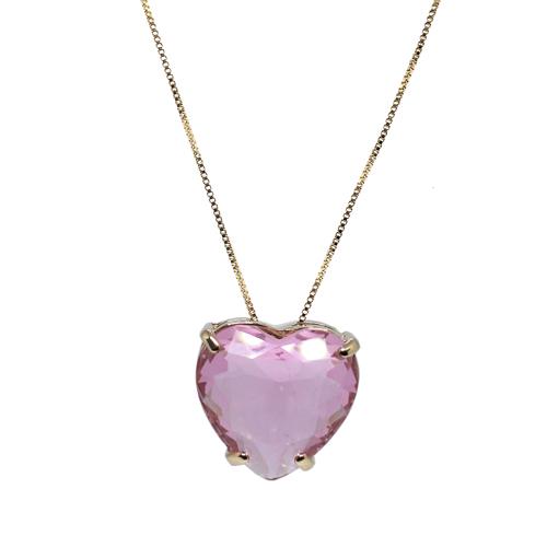 Colar Coração Grande Cristal Rosa Ouro 18K