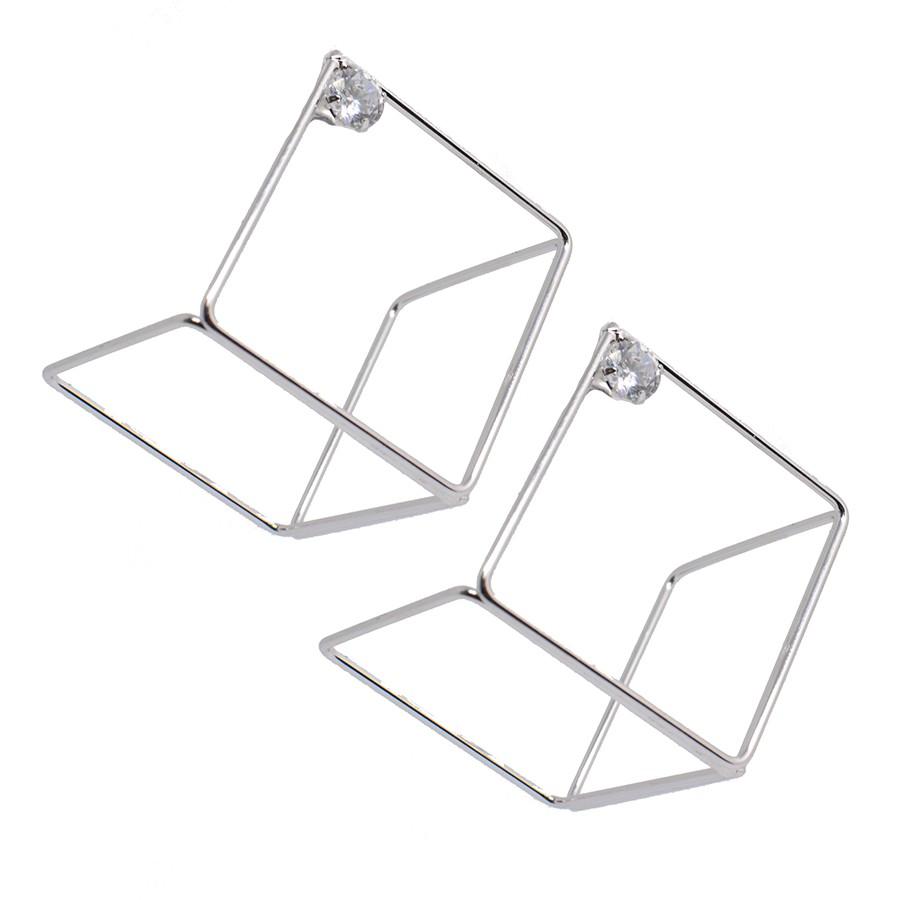 Brinco Cubo Grande Com Zircônia Ródio Branco