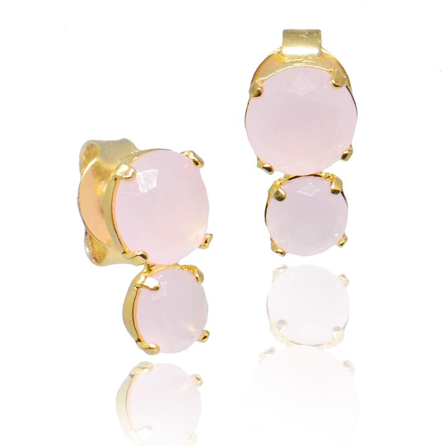 Brinco Cristal Rosa Ouro 18K