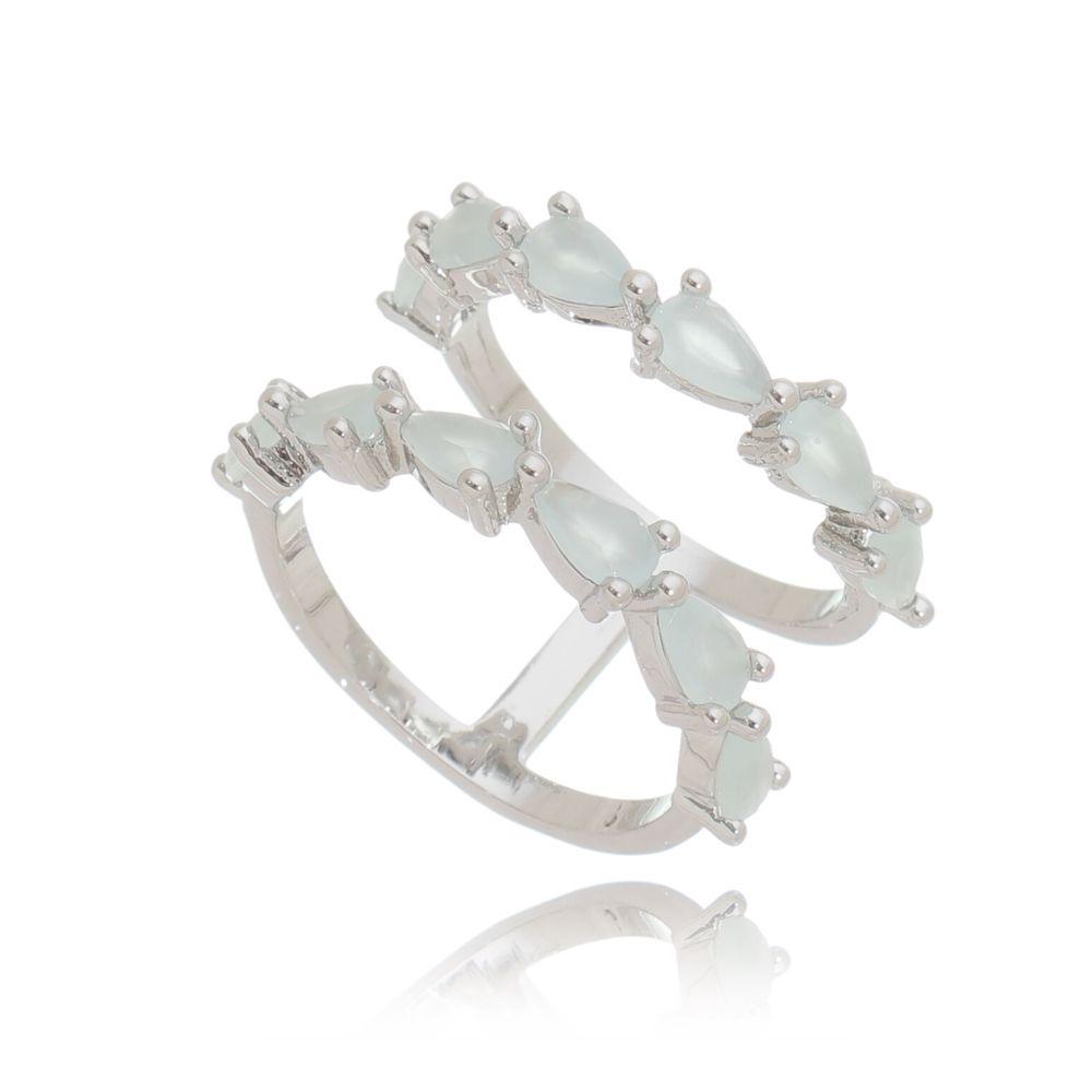 Anel Duplo Cristal Azul Leitoso Ródio Branco