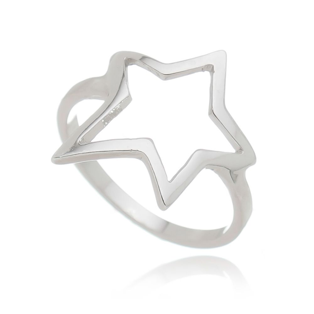 Anel Estrela Grande Folheado em  Ródio Branco