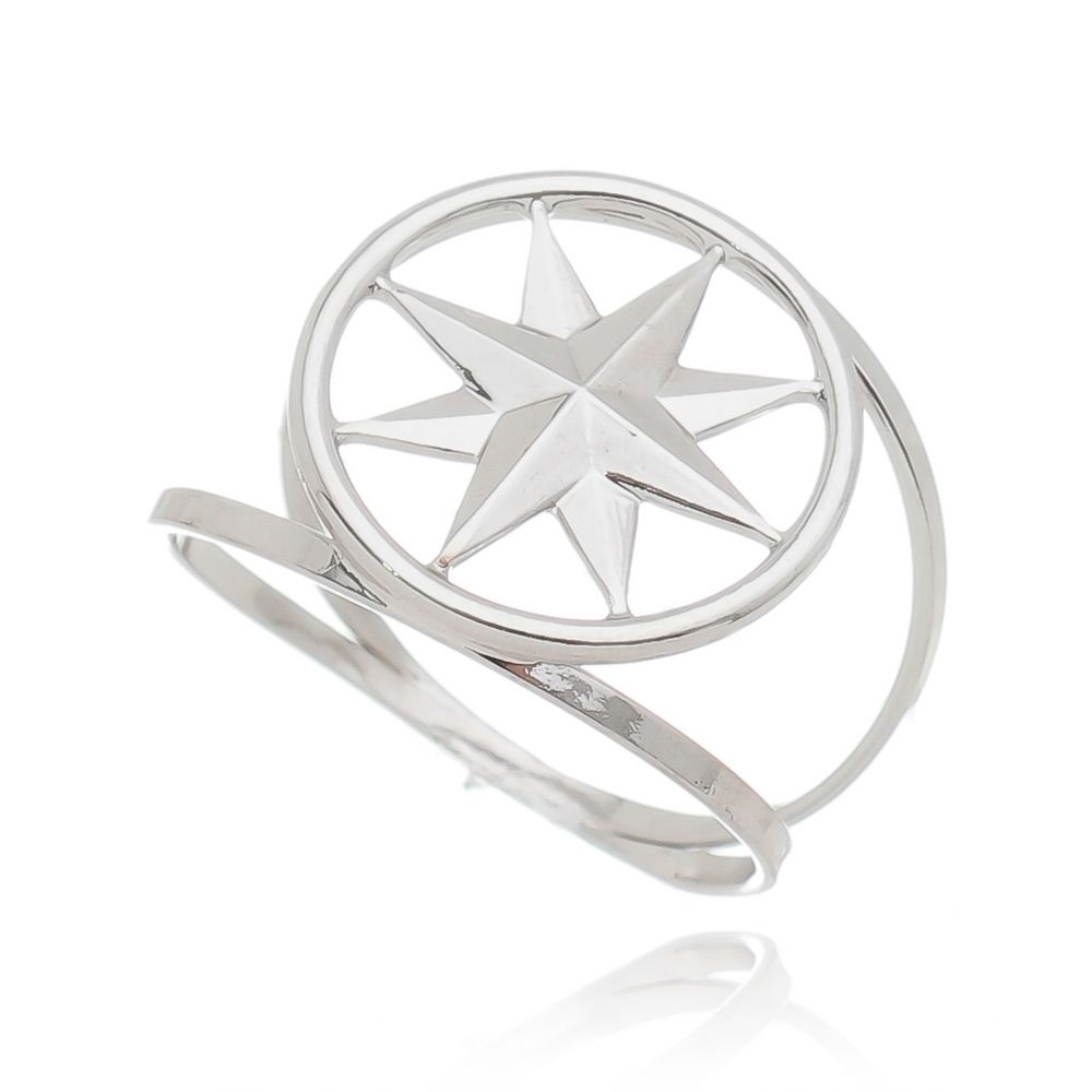 Anel Estrela Maxi Ródio Branco