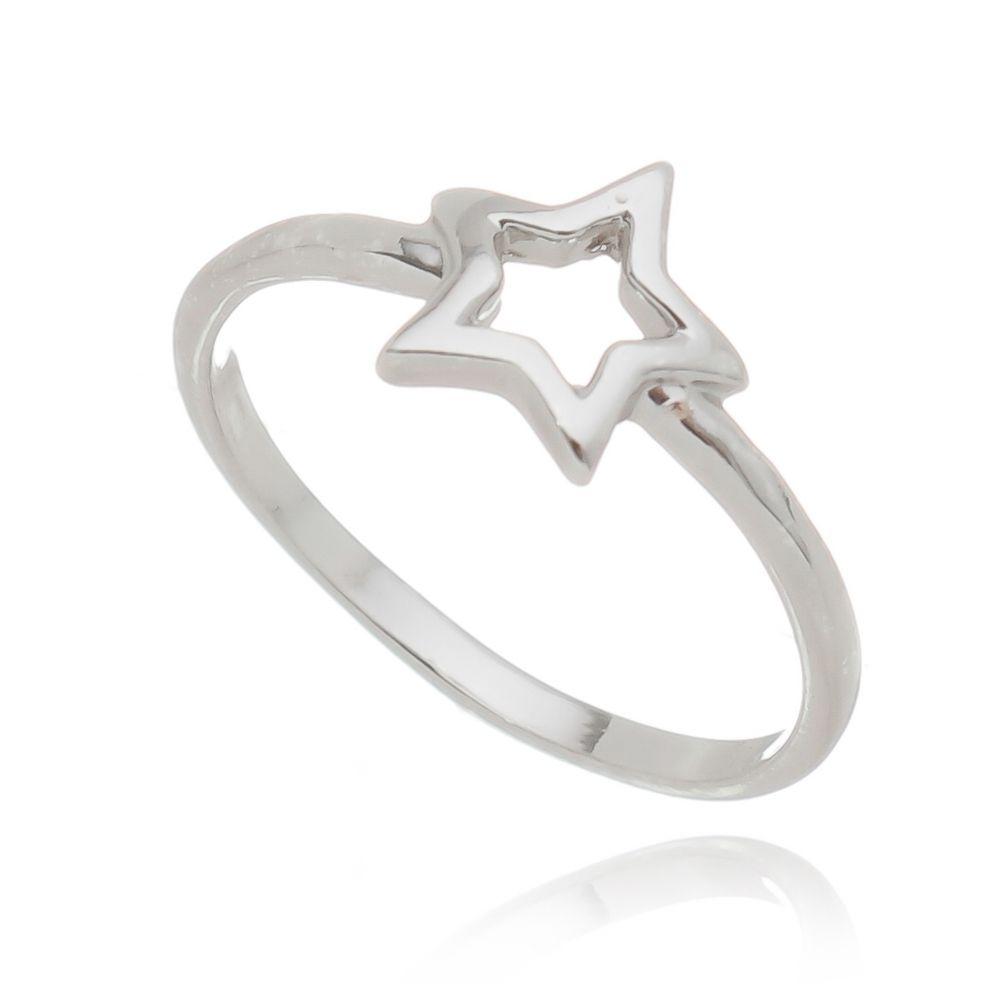 Anel Estrela Ródio Branco